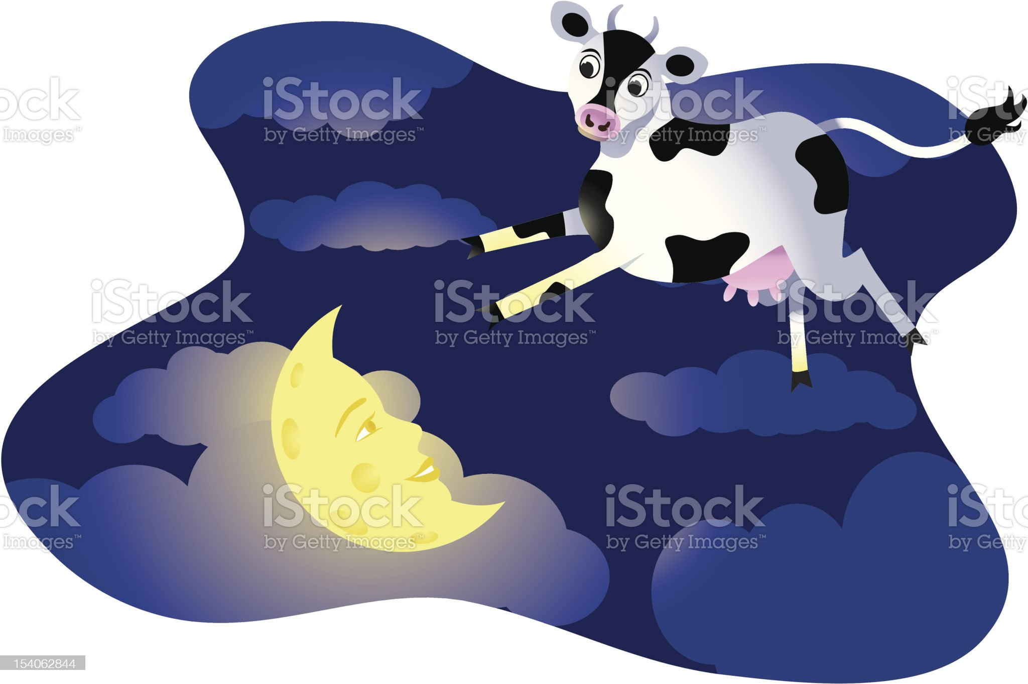 Cow Jumps Over Moon royalty-free stock vector art