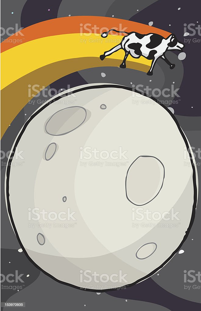 Cow Jumps The Moon royalty-free stock vector art