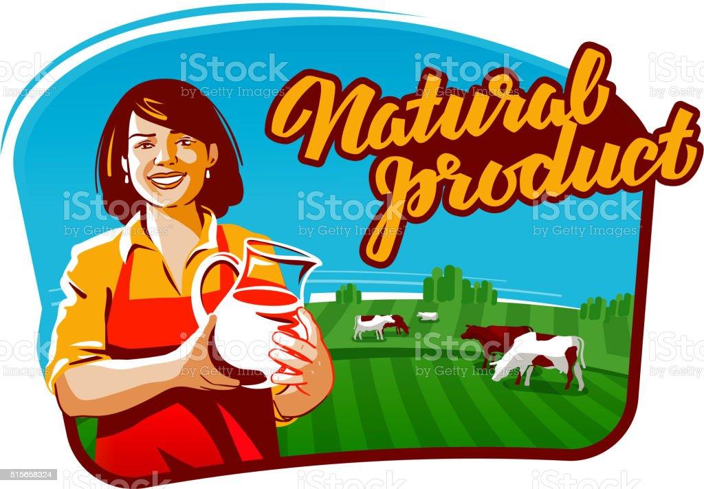 cow milk vector logo. milkmaid, farmer or farm icon vector art illustration