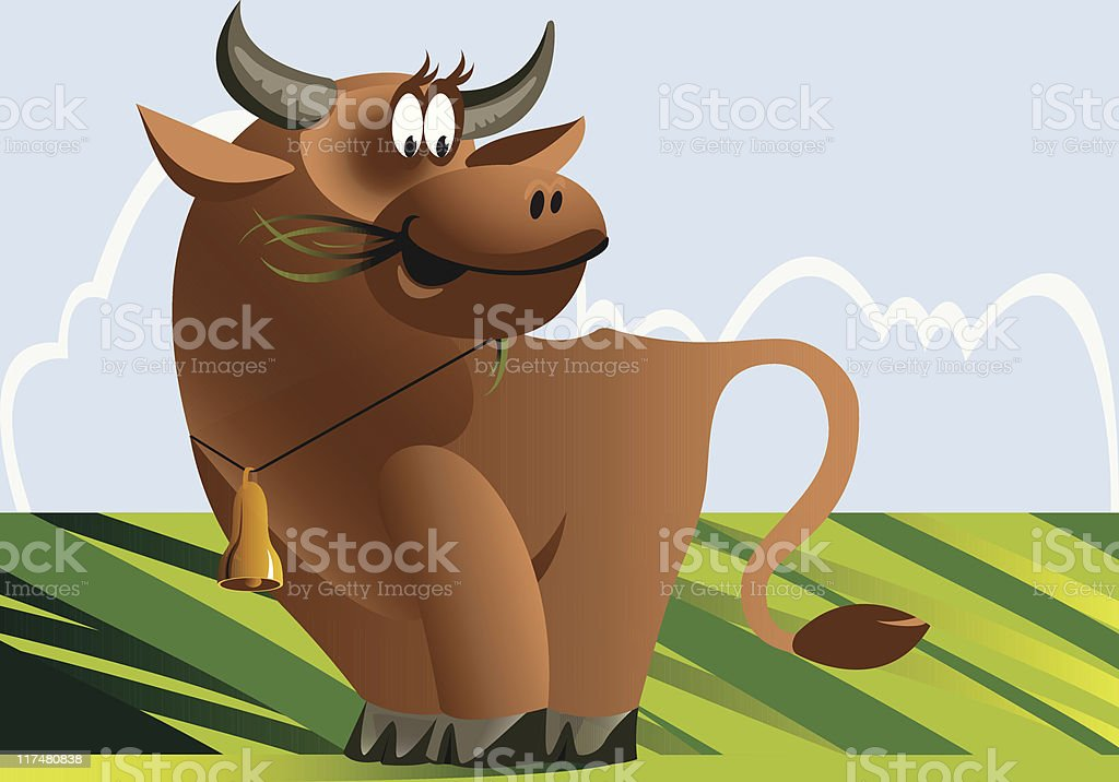 Cow pasture royalty-free stock vector art