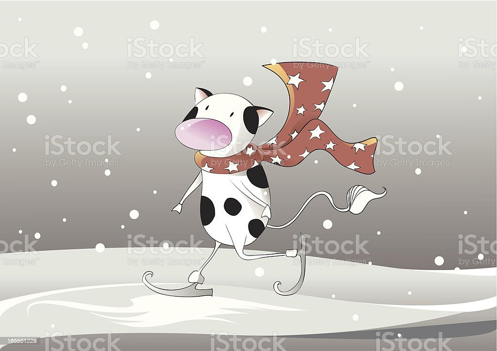 Cow skating vector art illustration