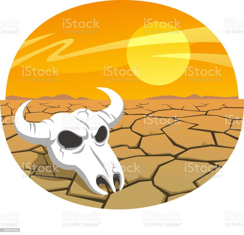 Cow skull in the desert at sunset vector art illustration