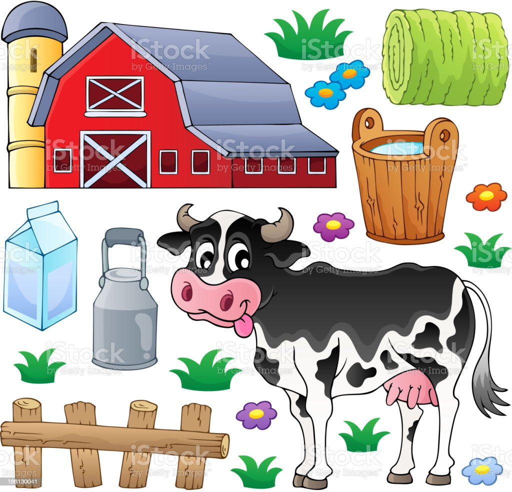 Cow theme collection 1 royalty-free stock vector art