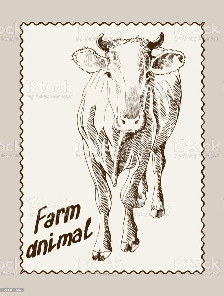 cow vector hand drawn vector art illustration