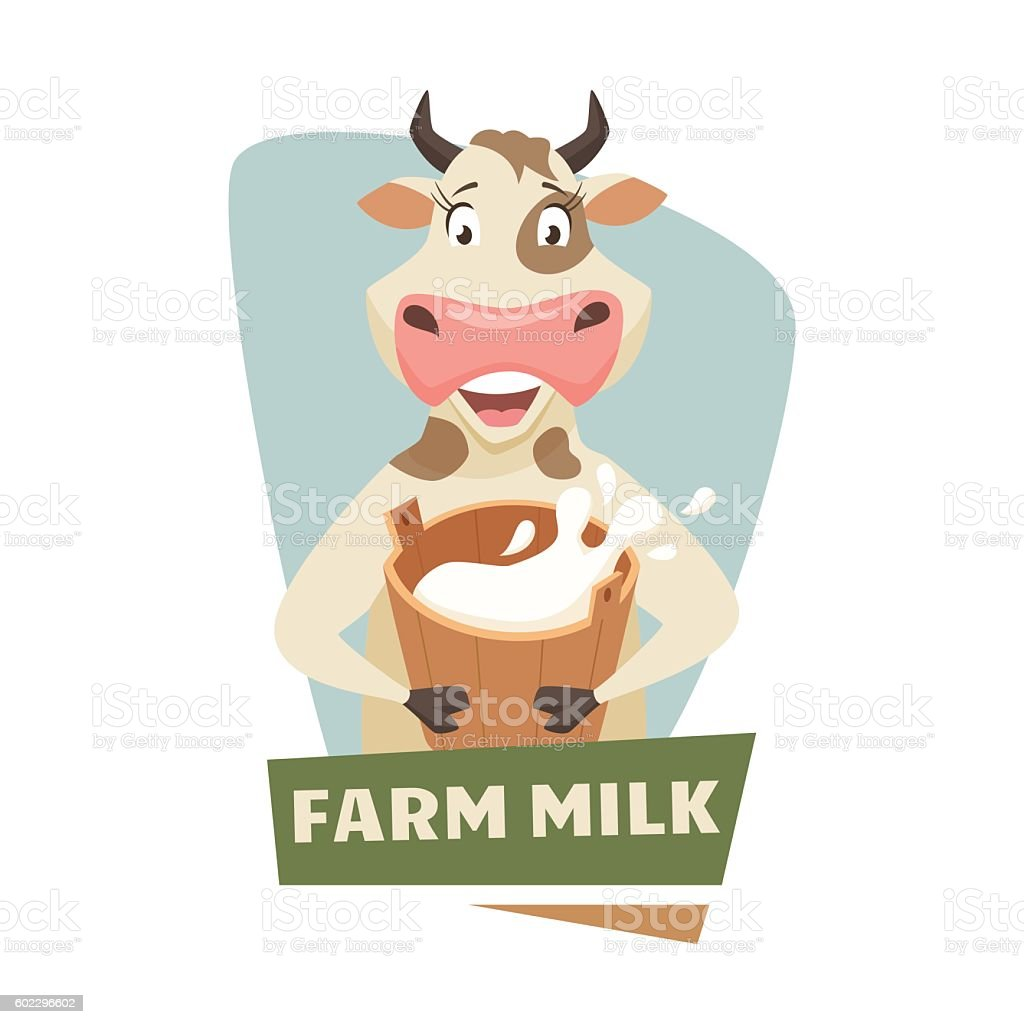 Cow with milk vector art illustration