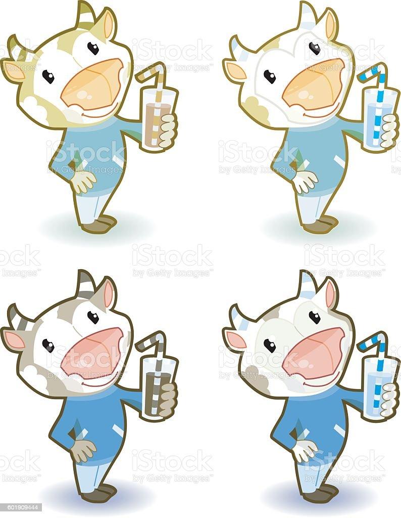 Cow with milkbucket (4 Various) vector art illustration