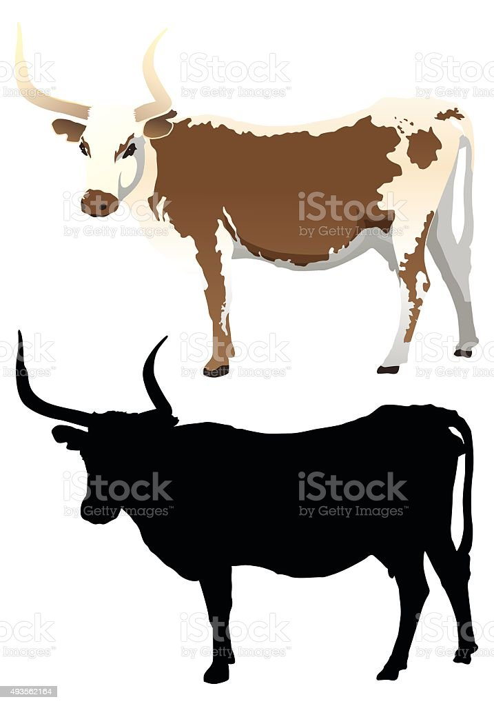 Cow with Silhouette vector art illustration