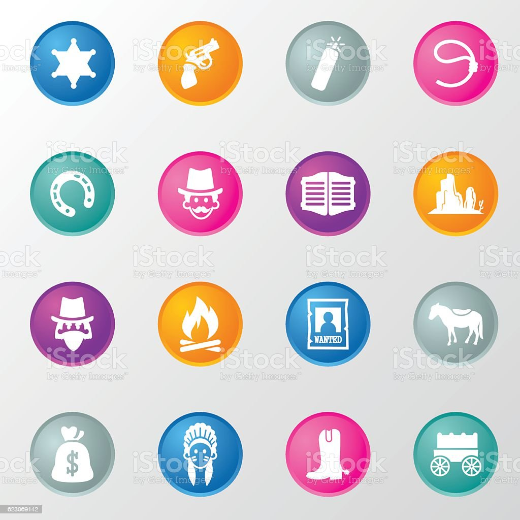 Cowboy and Apache Circle Color Icons vector art illustration