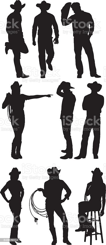 Cowboy and cowgirl in various actions vector art illustration