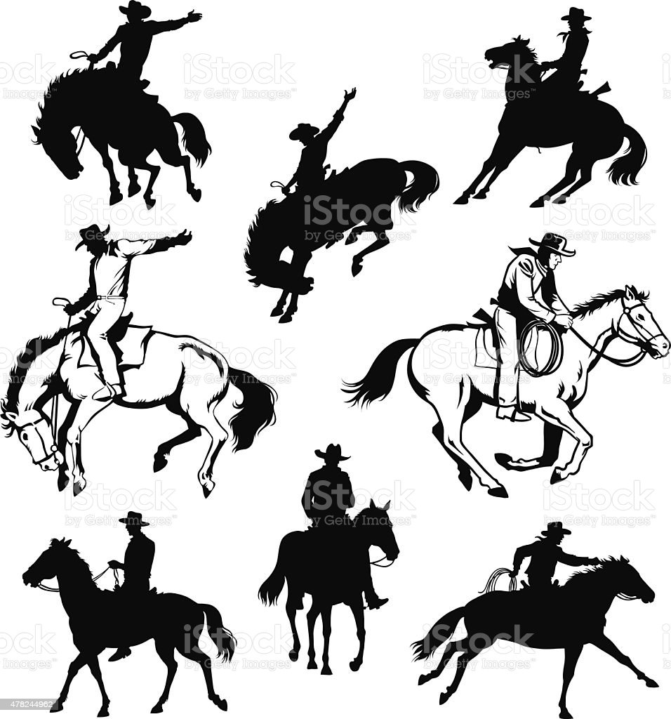 Cowboy and Horse - Drawings and Silhouettes vector art illustration