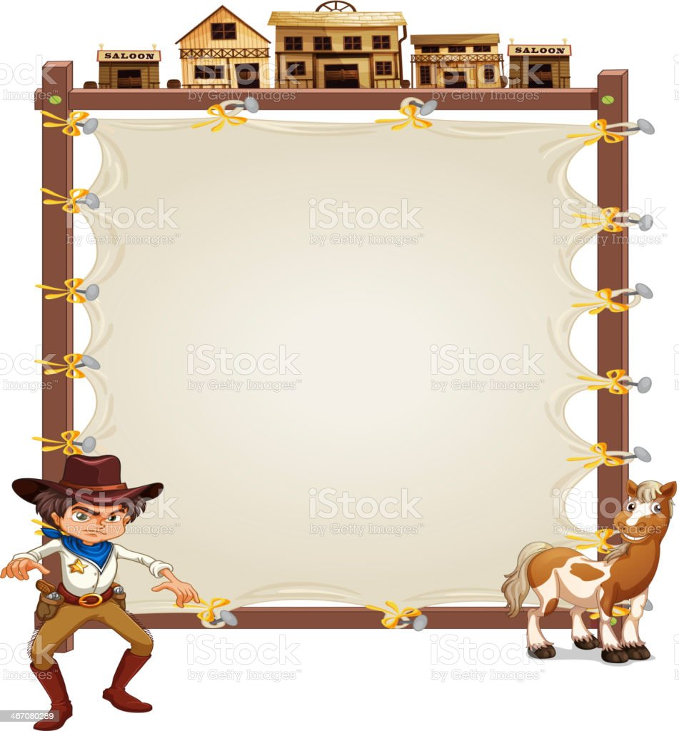 Cowboy and horse in front of an empty signage royalty-free stock vector art