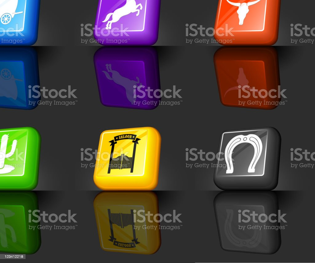 Cowboy and wild west internet royalty free vector icon set royalty-free stock vector art