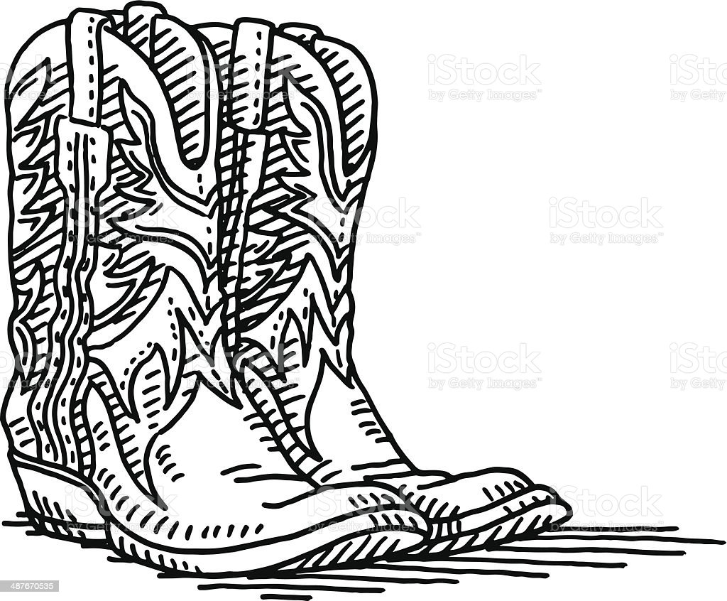 Coloring pictures of cowboy boots - Cowboy Boots Pair Drawing Royalty Free Stock Vector Art