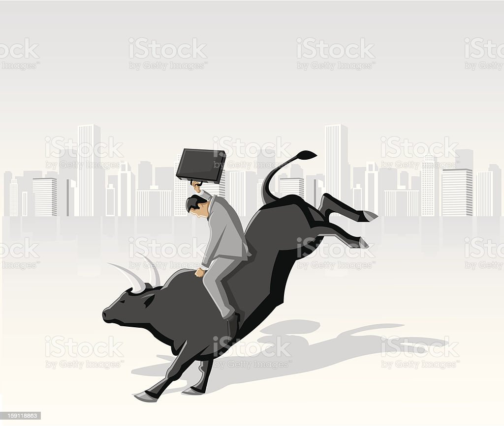 Cowboy business man vector art illustration