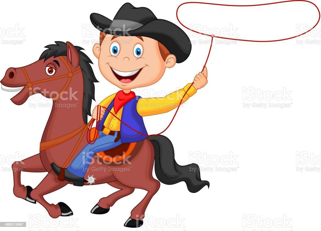 Cowboy Comic Reiter Auf Dem Pferd Werfen Lasso Vektor ...
