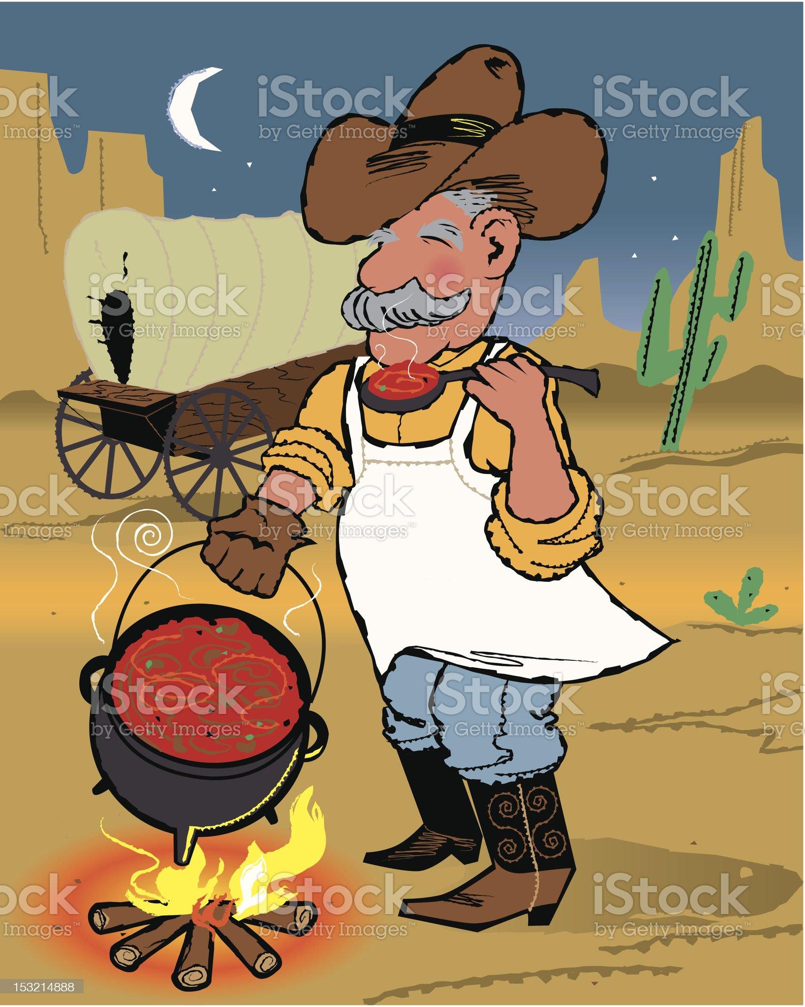 Cowboy Chef Making Chili Over Campfire Near Chuckwago royalty-free stock vector art