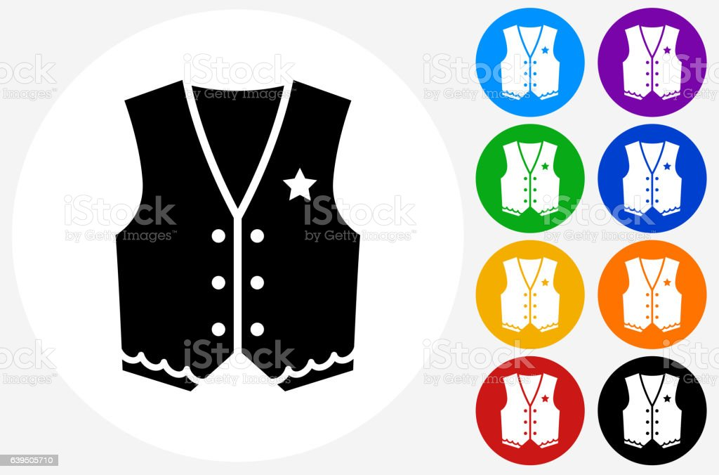 Cowboy Cloth Icon on Flat Color Circle Buttons vector art illustration