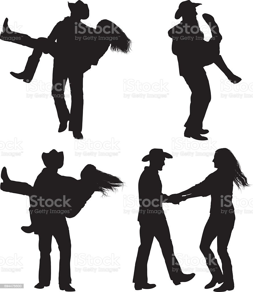 Cowboy couple country dancing vector art illustration