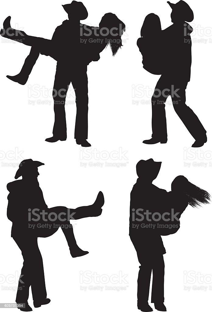 Cowboy couple country dancing vector art illustration