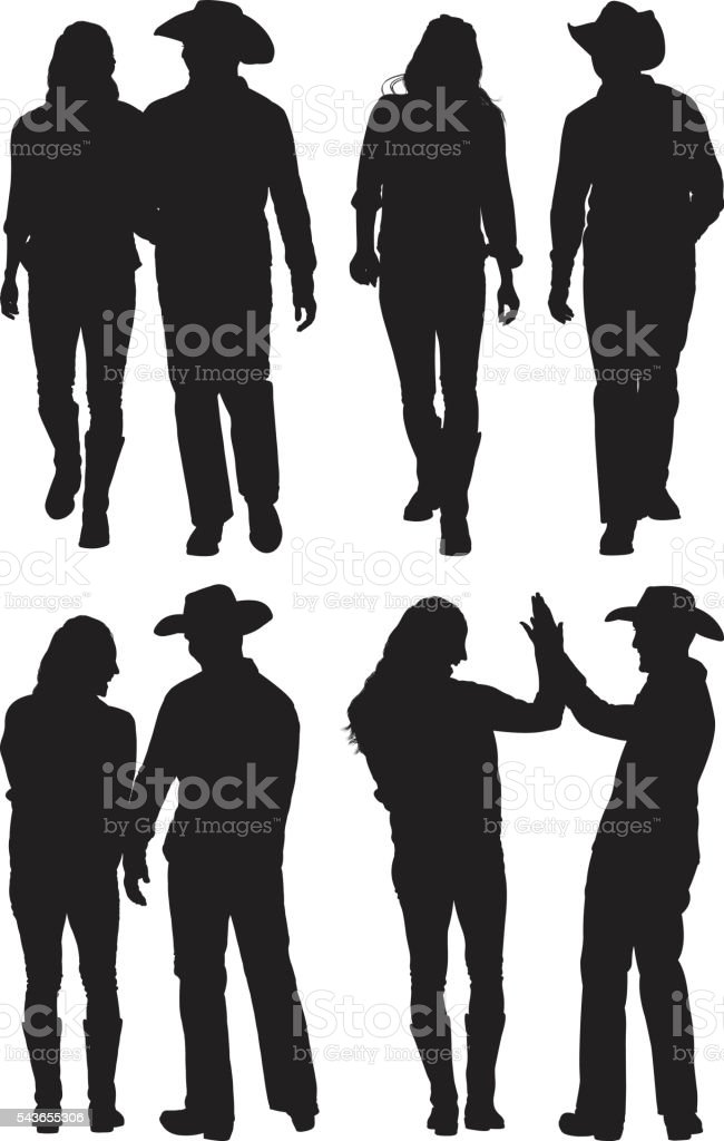 Cowboy couple in various actions vector art illustration