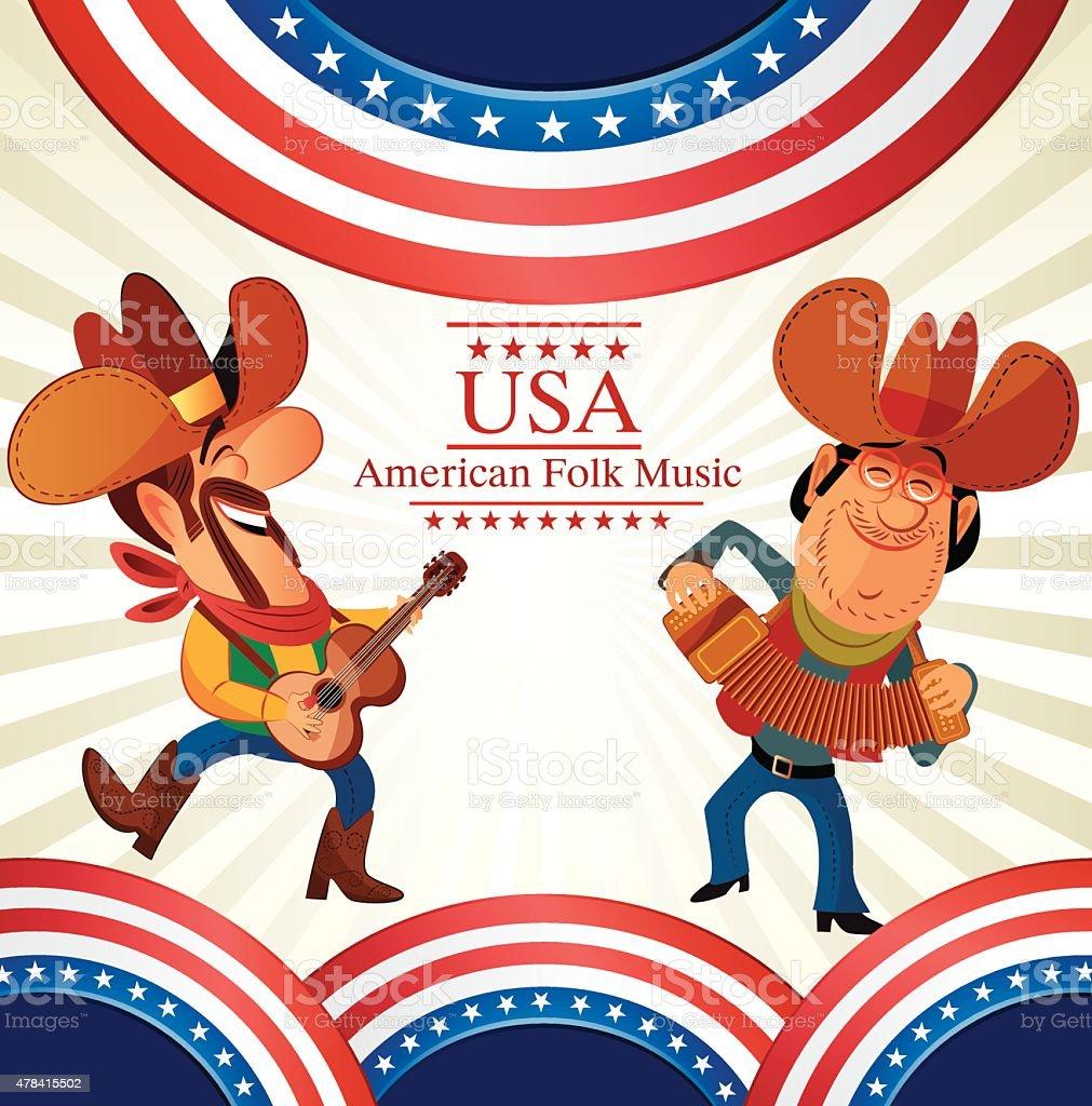 Cowboy dancing vector art illustration