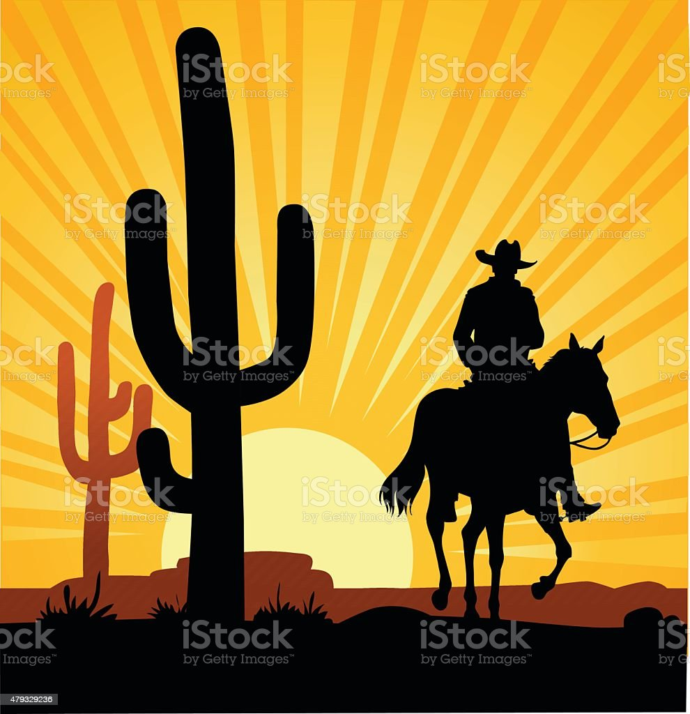 Cowboy Desert Sunset and Cactus vector art illustration