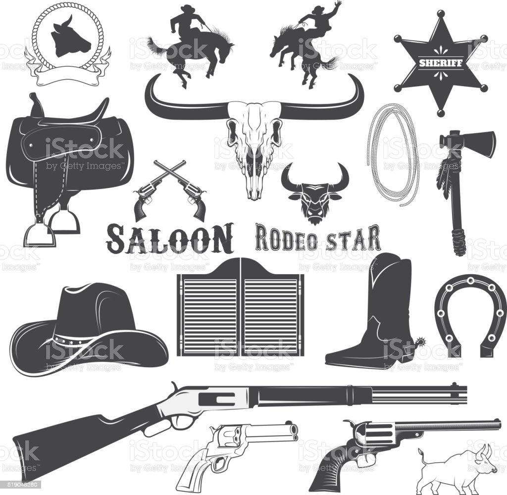 Cowboy design elements vector art illustration