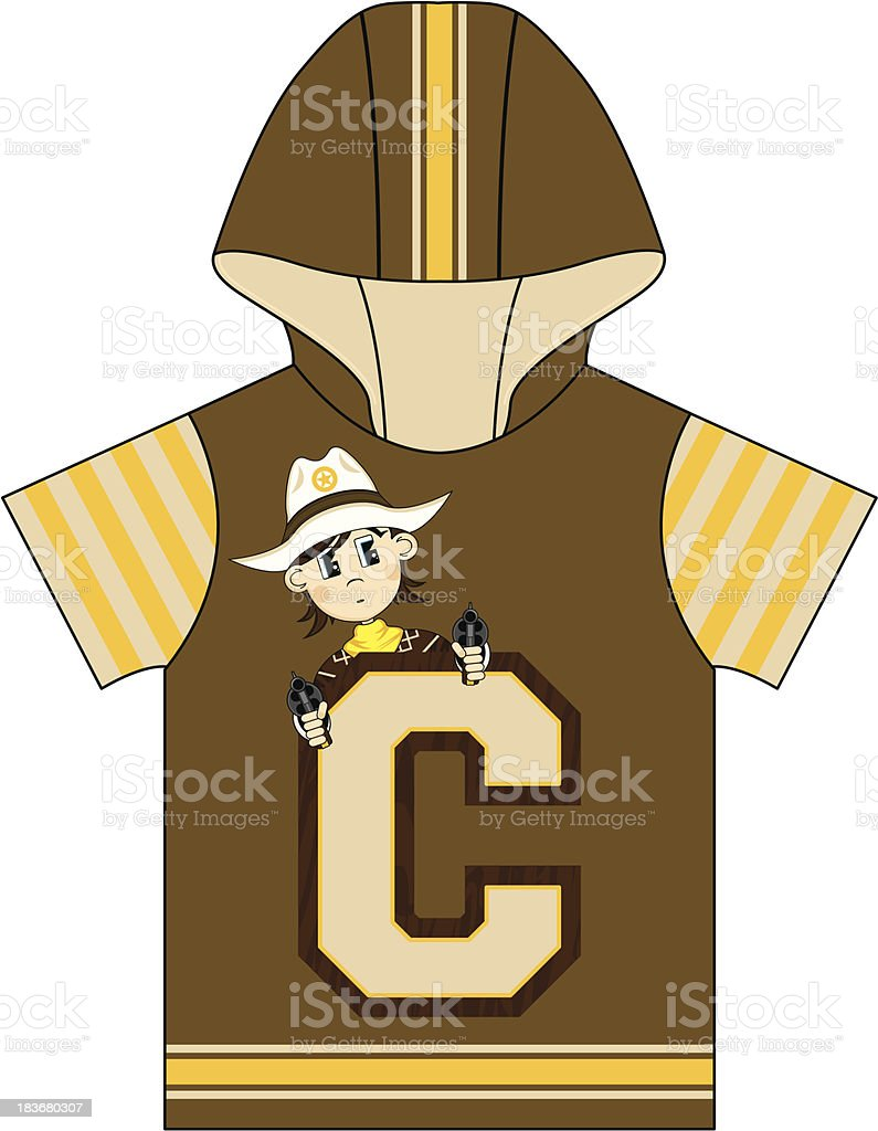 Cowboy Design Kids Hooded Top royalty-free stock vector art
