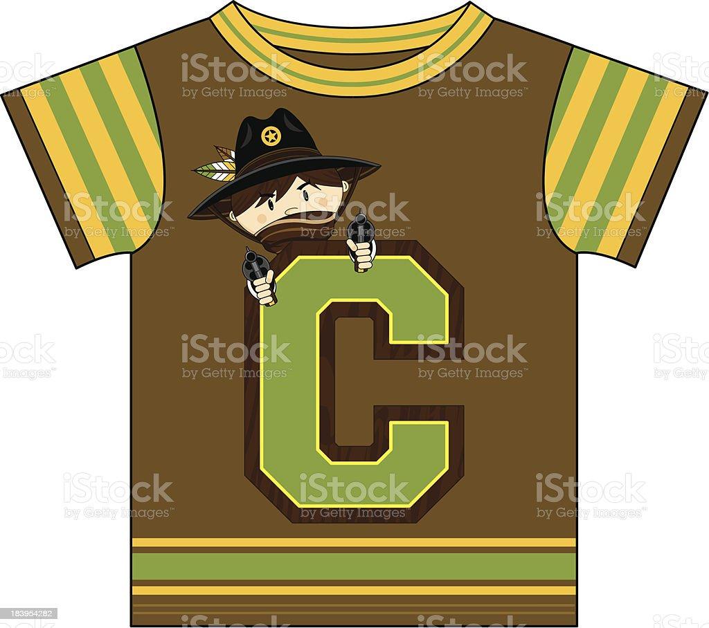 Cowboy Design Kids T-Shirt royalty-free stock vector art
