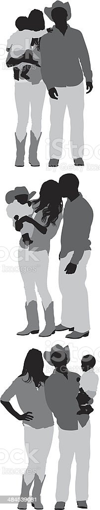Cowboy family royalty-free stock vector art