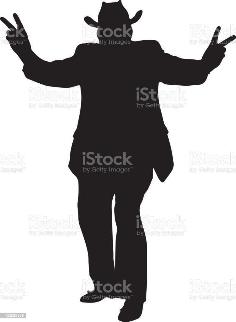 Cowboy giving 'peace' signs silhouette royalty-free stock vector art