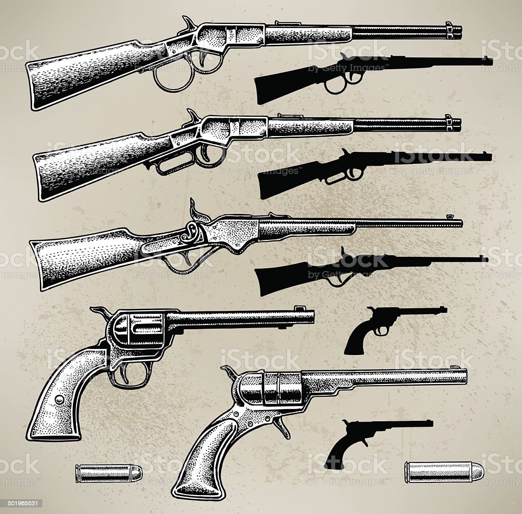 Cowboy Guns vector art illustration