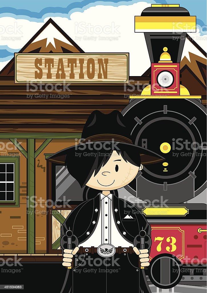 Cowboy Gunslinger at Station royalty-free stock vector art