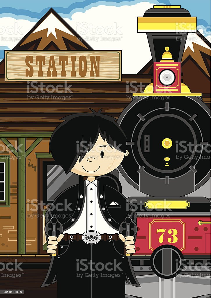 Cowboy Gunslinger at Train Station royalty-free stock vector art