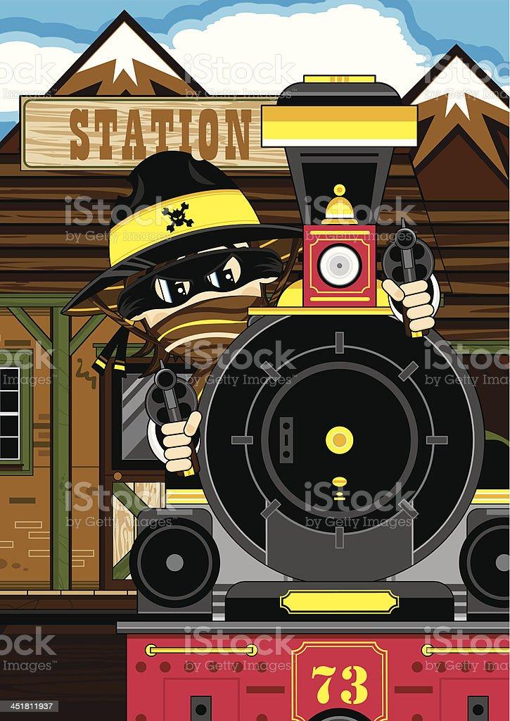 Cowboy Gunslinger at Train Station royalty-free stock vector art