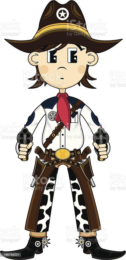 Cowboy Gunslinger in Chaps vector art illustration