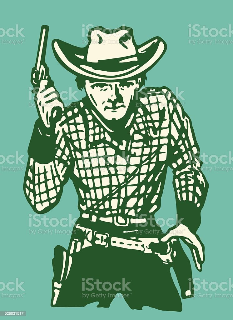 Cowboy Gunslinger vector art illustration