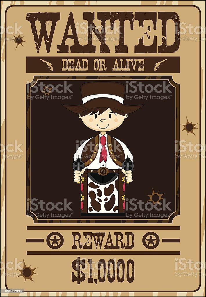 Cowboy Gunslinger Wanted Poster vector art illustration