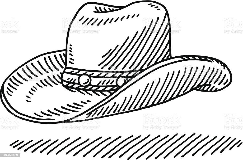 Cowboy Hat Drawing vector art illustration