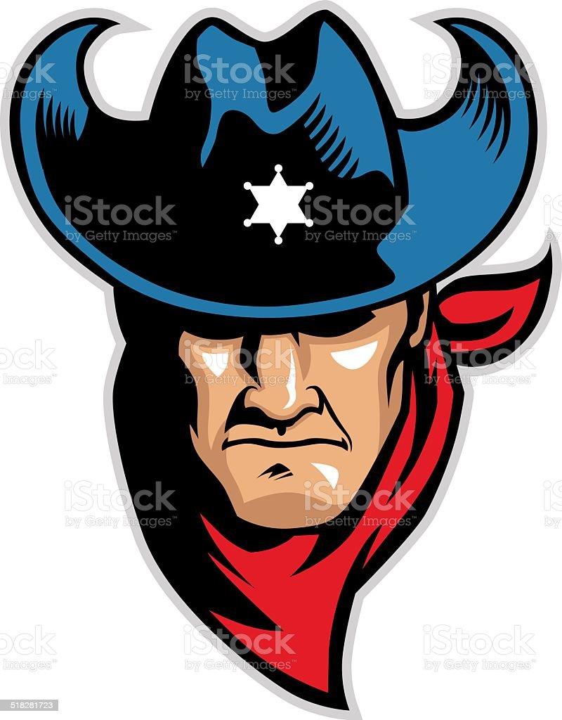 cowboy head mascot vector art illustration