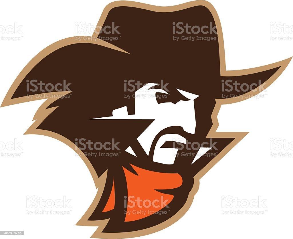Cowboy Head vector art illustration