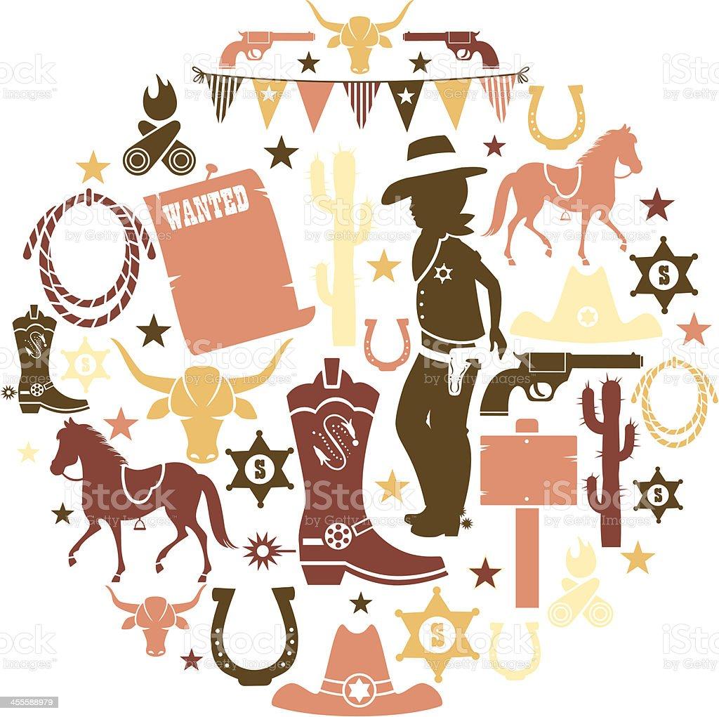Cowboy Icon Set vector art illustration