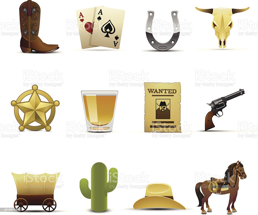 Cowboy Icons vector art illustration
