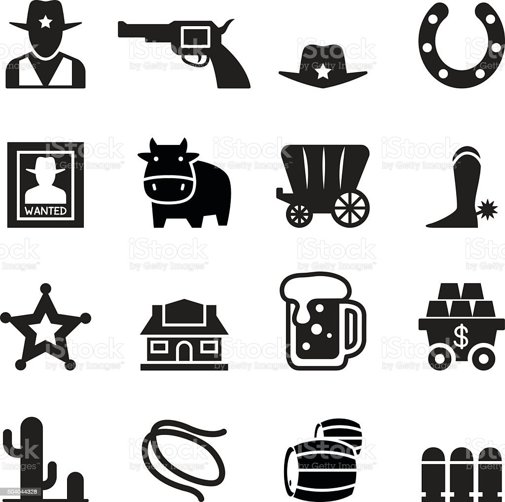 Cowboy icons vector art illustration