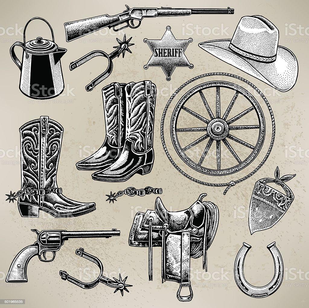 Cowboy Items vector art illustration