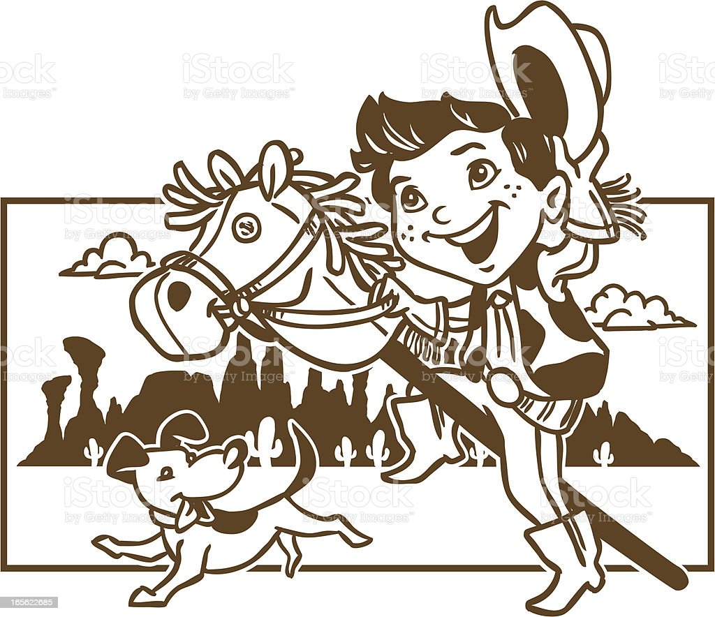 Cowboy Kid Coloring Page vector art illustration