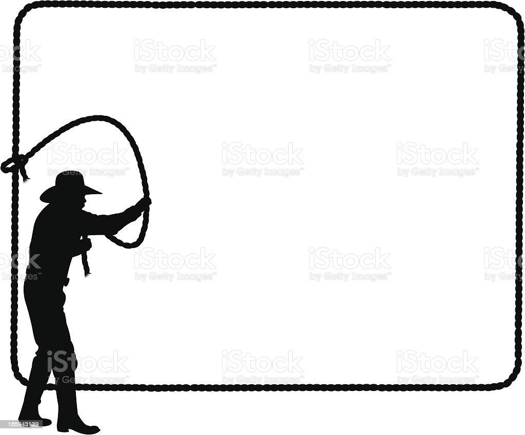 Cowboy Lasso Frame Background - roping vector art illustration