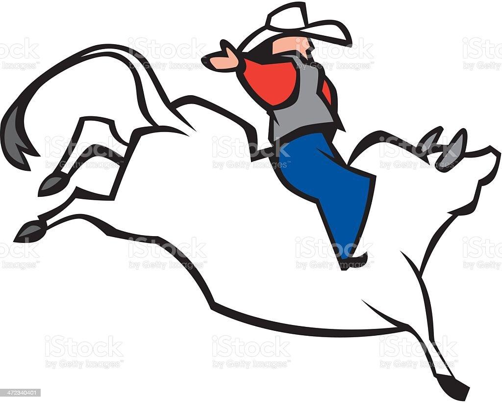 Cowboy On Bucking Bull royalty-free stock vector art
