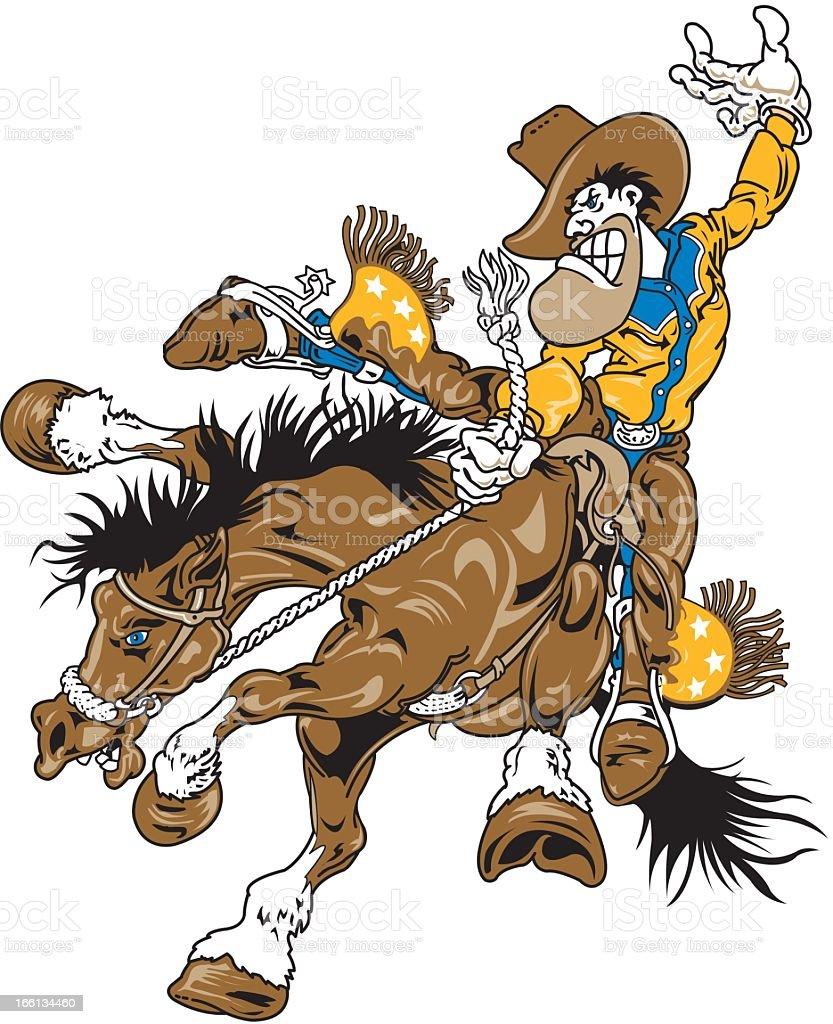 Cowboy on Bucking Horse royalty-free stock vector art