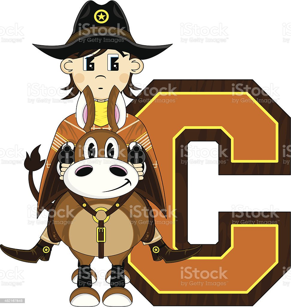 Cowboy on Horse Learning Letter C royalty-free stock vector art